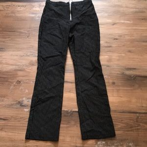 Pin Striped Cropped High Waisted Pants Tiger Mist